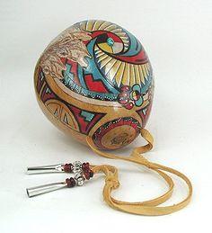 Native American Gourd Rattles | Ceremonial Rattle Native American Apache Cynthia Whitehawk Hand ...