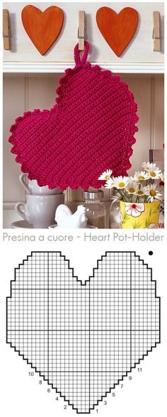 New Crochet Heart Pattern Pot Holders Ideas Crochet Diy, Crochet Chart, Crochet Home, Love Crochet, Crochet Gifts, Crochet Motif, Crochet Doilies, Crochet Flowers, Crochet Patterns