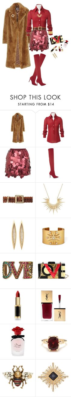"""""""Faux fur"""" by deborah-518 ❤ liked on Polyvore featuring Dries Van Noten, Dolce&Gabbana, Motel, ALDO, Valentino, Celine Daoust, Gucci, Diophy, L'Oréal Paris and Other"""