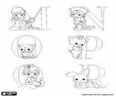 Colorear Letras mayúsculas de la M hasta la R del alfabeto bebés y animalitos