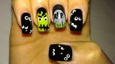 "Halloween nail art - Colors used: Fantasy Makers Black, Opi Baby It's ""Coal"" Outside, Opi Alpine Snow, Zoya Megan, Chanel Black Pearl, a England Saint George, Sally Hansen Lickety-Split Lime"