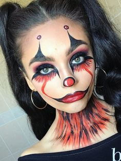 The Cutest and Creepy Halloween Makeup Ideas Makeup Looks Halloween Face Paint Scary, Scary Face Paint, Scary Clown Face, Clown Face Paint, Halloween Eyes, Halloween Night, Scary Clown Costume, Halloween Makeup Clown, Creepy Halloween Makeup