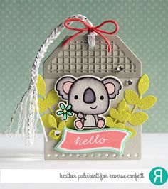 Gift tag by Heather Pulvirenti. Reverse Confetti stamp sets: Bitty Banners and Bear Hugs. Confetti cuts: Bitty Banners, Bear Hugs, Edge Essentials and Squared Off Tag Topper. Friendship tag. Encouragement tag.