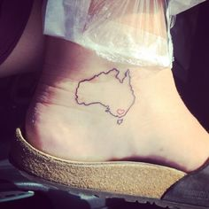 Tattoo - Australian - Map is I think I'd like to get something like this if I put the heart on my home town instead :) Pair Tattoos, Foot Tattoos, Small Tattoos, Tatoos, Australian Tattoo, Get A Tattoo, Tattoo Inspiration, 30, Tattoo Ideas