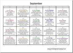 lesson plan ideas for every month!