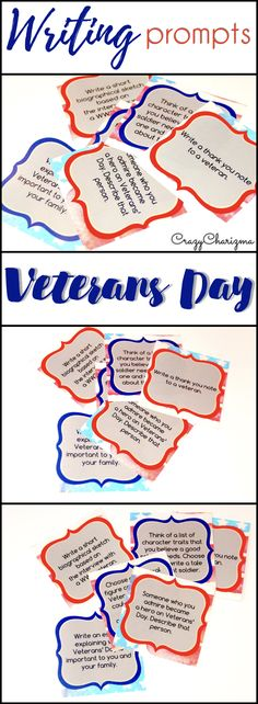 Celebrate Veteran's Day in your classroom and provide students with writing tasks and ideas. The packet contains narrative, informational and opinion writing prompts for teens. The prompts can be used as Writing Centers, as well as with adults during ESL lessons.   CrazyCharizma