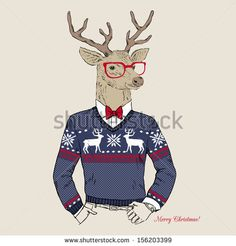 Hand Drawn Vector Illustration of Deer Hipster in Jacquard Sweater, Merry Christmas Card by Olga_Angelloz, via Shutterstock