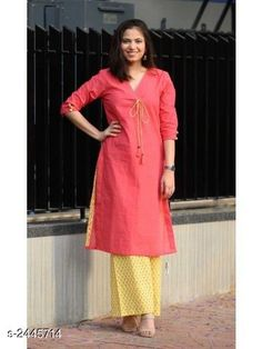 Kurtis & Kurtas Women's Solid Cotton Kurta with Palazzos Fabric: Kurti- Cotton Palazzo- Cotton Sleeves:  Sleeves Are Included Size: Kurti : M - 38 in L - 40 in XL - 42 in XXL - 44 in 3XL- 46 in  Palazzo : M - 30 in L - 32 in XL - 34 in XXL - 36 in 3XL- 38 in  Length: Kurti - Up To 46 in Palazzo - Up To 40 in Type: Stitched Description: It Has 1 Piece Of Women's Kurti & 1 Piece Of Palazzo  Work / Pattern: Kurti - Solid Palazzo - Printed Country of Origin: India Sizes Available: S, M, L, XL, XXL, XXXL   Catalog Rating: ★4.2 (136)  Catalog Name: Women's Printed Cotton Kurtis CatalogID_327874 C74-SC1001 Code: 584-2445714-