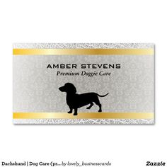 Dachshund   Dog Care (premium) Standard Business Card #doggiedaycare #premiumbusinesscards #gold #cutedogs #dogsitting #businesscards