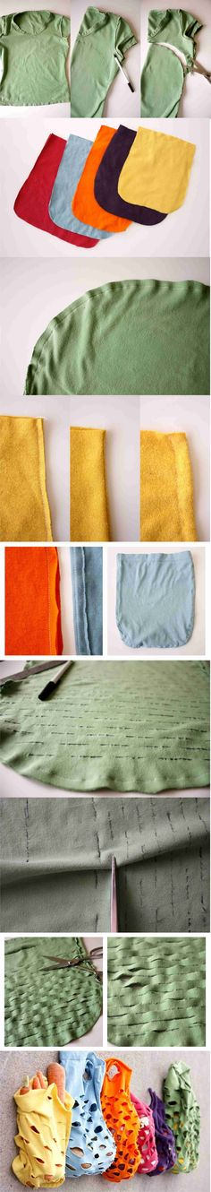 Another brilliant thing to do with those older t-shirt before you toss them! ~ Re-usable bags -- Love it!
