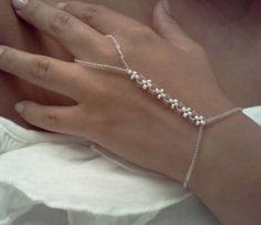 White Flower Seed Bead Slave Bracelet