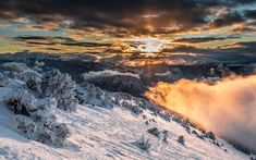 Download wallpapers France, sunset, mountains, winter, Alps, Europe