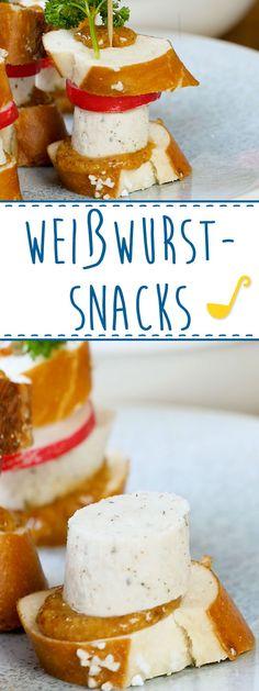 Unsere Weißwurst-Snacks verpacken ein ganzes Weißwurstfrühstück in einen mundgerechten Happen: Weißwurst, Senf, Radieschen, Brezn und Petersielie. Noch dazu sehen sie unwiderstehlich aus, die bayerischen Fühstücks-Tapas.