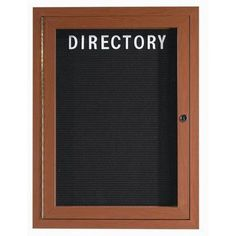 "AARCO Aluminum Enclosed Wall Mounted Letter Board Frame Color: Cherry Wood, Number of Doors: Two, Size: 36"" H x 60"" W"