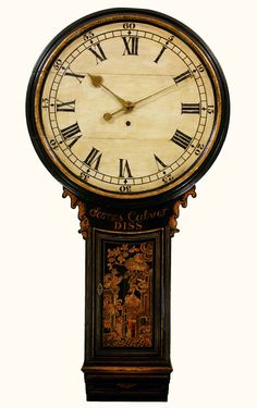 James Calver, Diss. A Good Black Lacquer Tavern Clock With A Particularly Interesting Movement (1795). Dimensions: Length : 55'' ( 140 cms.). Low Estimate: GBP 6,000 High Estimate: GBP 8,000.  Bid on this lot and more in the BADA Auction July 14, on CuratorsEye.com
