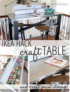 Ikea Hack Craft Table & Craft Paint Storage