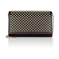 Christian Louboutin Paloma Chain Clutch ($1,150) ❤ liked on Polyvore featuring bags, handbags, clutches, frames & background, glitter, black, patent leather handbags, black chain purse, black handbags and leopard clutches