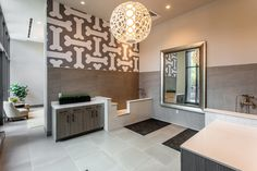 Multifamily and Amenities Spa Interior, Interior Design, Clubhouse Design, Wood Floor Pattern, Dog Washing Station, Dog Grooming Salons, Pet Spa, Medical Office Design, Colored Ceiling