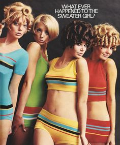 Details about Vintage 1968 Cute Girls in Pandora Swimsuits Bikini Mod Fashion Print Ad 60s And 70s Fashion, Retro Fashion, Vintage Fashion, Beach Fashion, Fashion Women, High Fashion, Lauren Hutton, Women's Dresses, Colleen Corby