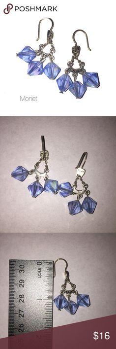 Monet Blue Beaded Silver Dangle Earrings NWOT Monet Blue Beaded Silver Dangle Earrings 1 1/2 in drop Monet Jewelry Earrings