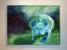 Manatee Painting 30x40 Canvas Art Large Blue Green by Logan Berard
