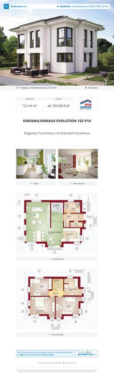 #Stadtvilla EVOLUTION 122 V14 · Bien-Zenker · Jetzt bei #Musterhaus.net Unterlagen anfordern! Fantasy House, Bauhaus, Planer, House Plans, House Ideas, Floor Plans, Design Ideas, Exterior, Houses