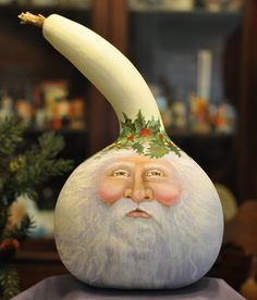 Jack Frost Santa Gourd ~ Dolores Hook ~ A Crafted Journey Santa Crafts, Christmas Projects, Holiday Crafts, Diy Crafts, Holiday Decor, Gourd Crafts, Santa Christmas, Rustic Christmas, Christmas Bulbs