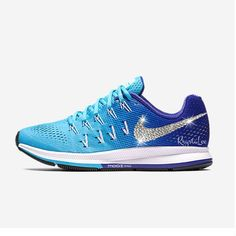 Womens Nike Air Zoom Pegasus 33 Blue White Custom Bling Crystal Swarovski Sneakers, Running Shoes, Tennis Shoes, Nikes