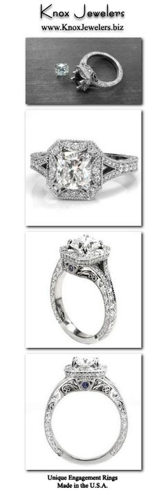 This regal engagement ring design features a cushion cut center stone surrounded by a unique rectangular halo with clipped corners. The split shank band is adorned with diamonds and milgrain and draws the eye to the magnificent halo. Relief engraving and filigree are created by hand giving the ring design an antique appeal. For more information about this custom ring, click on pin.