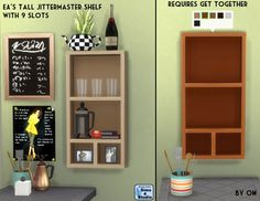 The Sims 4 | Orangemittens' EP02 Get Together Tall Jittermaster Shelf with 9 Slots | buy mode override display