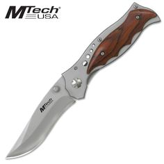 @ShopAndThinkBig.com - Tactical Folding Knife 4.5 Closed 3.5 Matte Finished Stainless Steel Blade Titanium Coated Bolster With Wood Overlay Handle Includes Pocket Clip http://www.shopandthinkbig.com/stainless-steal-tactical-folding-knife-mtech-p-1210.html