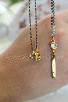 "#2019 #gouri #charm #charm2019 #necklace #gift #Swarovski  #gold #γούρι Κολιέ αλυσίδα χρώματος ανθρακί & μήκους 65 cm με επίχρυση πλακέτα όπου είναι χαραγμένη με νέα χρονιά με λατινικούς αριθμούς XIX, κρύσταλλο Swarovski & επίχρυσο '19"" στο τελείωμα. Swarovski, Arrow Necklace, Bracelets, Jewelry, Jewlery, Jewerly, Schmuck, Jewels, Jewelery"
