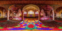 multicolored Nasir al Mulk Mosque, Shiraz, Iran