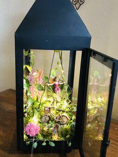 Fairy Lanterns, Garden Lanterns, Lanterns Decor, Mini Fairy Garden, Fairies Garden, Garden Terrarium, Glass Terrarium, Diy Garden Decor, Garden Ideas