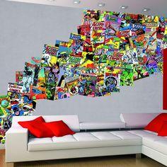 comics collage dc creative murals mural 1wall piece comic walls justice panel league tile