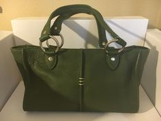 "ELLINGTON Green Leather Small Shoulder Tote Purse Handbag 12"" X 7.5"" X 3"" #Ellington #ShoulderBag"