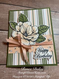 Good Morning Magnolia Birthday Card - Learn techniques of card making & paper crafting with stamps Birthday Cards Images, Handmade Birthday Cards, Cardmaking And Papercraft, Magnolia Stamps, Stamping Up, Rubber Stamping, How To Make Paper, Paper Cards, Flower Cards