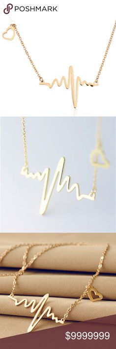 coming soon Gold Heartbeat delicate dainty pendant COMING SOON!! LIKE FOR ARRIVAL NOTIFICATION   Gold Heartbeat delicate dainty pendant 16 inches with 2 inch extender golden threads Jewelry Necklaces