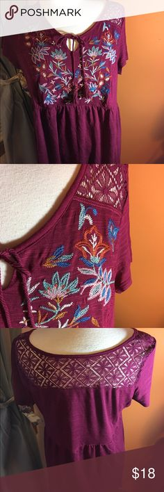 Red boho top by Maurice's This is a maroon boho top by Maurice's this is such a cute boho top with a lace upper back very soft and comfortable top it's made of rayon and polyester  it's a size 0 or regular size 14 Maurices Tops