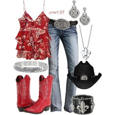 """Red Cowgirl Boots"" by srose38 on Polyvore"