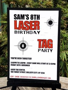 Laser Tag Party Printable Invitation Laser Tag Birthday, Birthday Banner Template, Laser Tag Party, Printable Birthday Invitations, Party Printables, Invites, Invitation Wording, 9th Birthday, Birthday Ideas