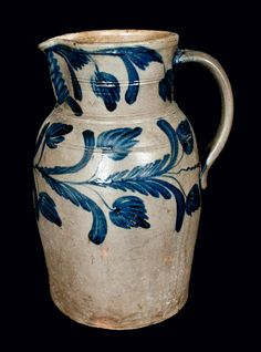 Exceptional B. MILBURN, Alexandria, VA Stoneware Pitcher with Floral Decoration -- Lot 395 -- November 2012 Stoneware Auction Antique Crocks, Old Crocks, Antique Stoneware, Stoneware Crocks, Glazes For Pottery, Pottery Art, Glazed Pottery, Ceramic Pottery, Pots