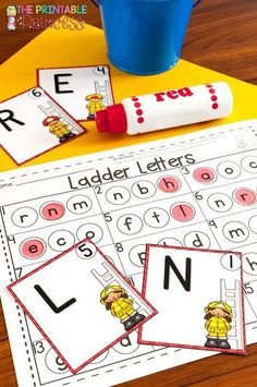 Need fire safety activities & centers for Kindergarten? You're going to LOVE this! These ladder letters activities will keep kids busy. Even your preschool or first grade students will enjoy these, as will homeschool families! Let your primary students enjoy the freebies, picture sort, printables, sound practice, letters, numbers, counting, patterns, & more!  Great for Fire Safety Week in October #classroom #teacher #kindergarten #firstgrade #printableprincess