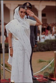 Marilyn Silverstone. INDIA: 1966 Indira Gandhi taking an official salute in Jaipur.