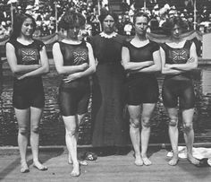 The British Women's 4 x 100 Metres Freestyle Swimming Team during the 1912 Olympic Games in Stockholm, Sweden. The British Women's Team won the gold medal.