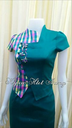 Best 12 Turquoise and pink combination with pink rose – SkillOfKing. African Fashion Dresses, African Dress, Fashion Outfits, Saree Blouse Neck Designs, Blouse Designs, Myanmar Traditional Dress, Traditional Dresses, Myanmar Dress Design, Stylish Blouse Design