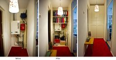 Messy hallway with ugly boiler transformed into storage cabinet Boiler, Entryway, Cabinet, Storage, Furniture, Home Decor, Entrance, Clothes Stand, Purse Storage