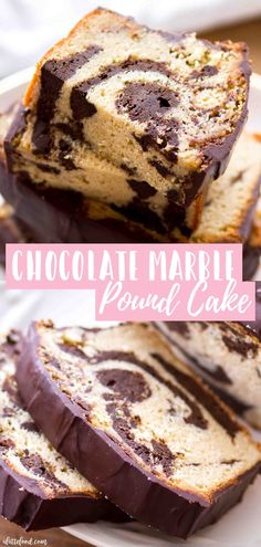 Vanilla Chocolate Marble Pound CakeHomemade Vanilla Chocolate Marble Pound Cake with cream cheese (to make this pound cake moist) is topped with a simple chocolate ganache recipe (so much better than Starbucks! Between the chocolate fudge pound ca Marble Pound Cakes, Marble Cake Recipes, Pound Cake Recipes, Easy Cake Recipes, Best Dessert Recipes, Cheesecake Recipes, Cupcake Recipes, Fun Desserts, Baking Recipes