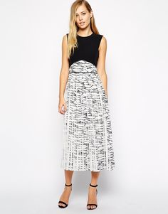 Whistles Pleated Midi Dress in Marble Print black and white