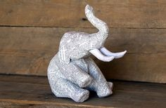 Paper Mache Animal Sculpture  Sitting Elephant by PaperUnleashed, $45.00